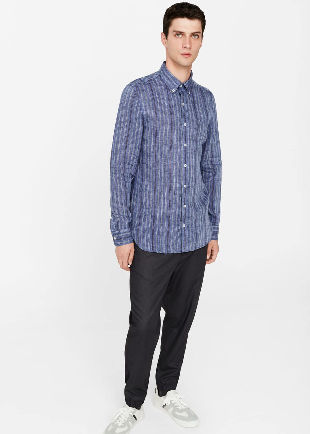 Slim-fit striped linen shirt | MANGO