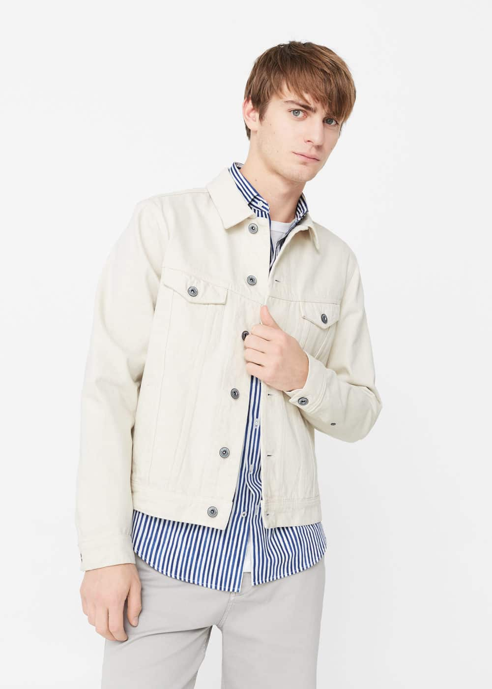 White denim jacket | MANGO MAN