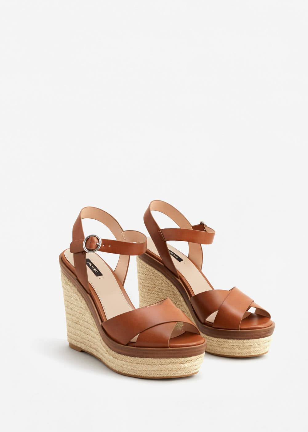 Wedge criss-cross sandals | MANGO
