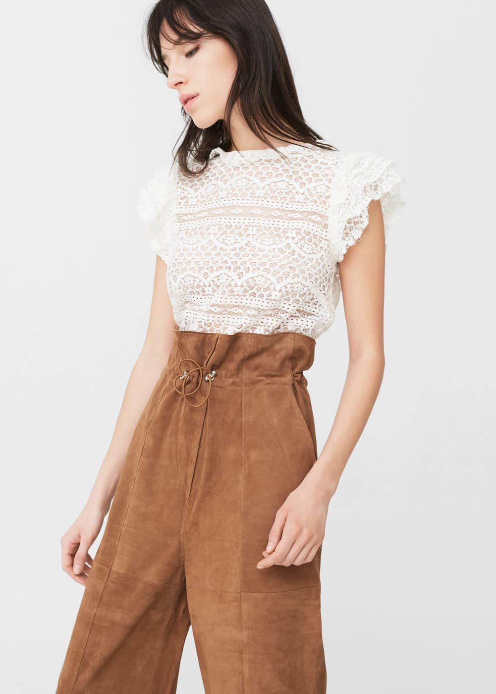 Blond-lace blouse | MANGO
