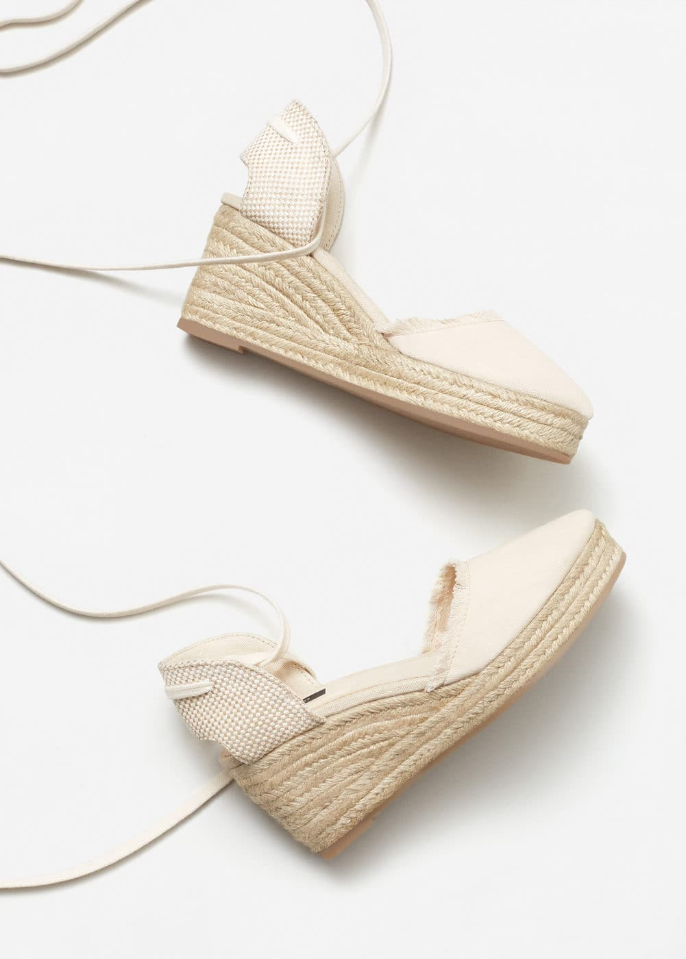 Esparto linen wedge | MANGO