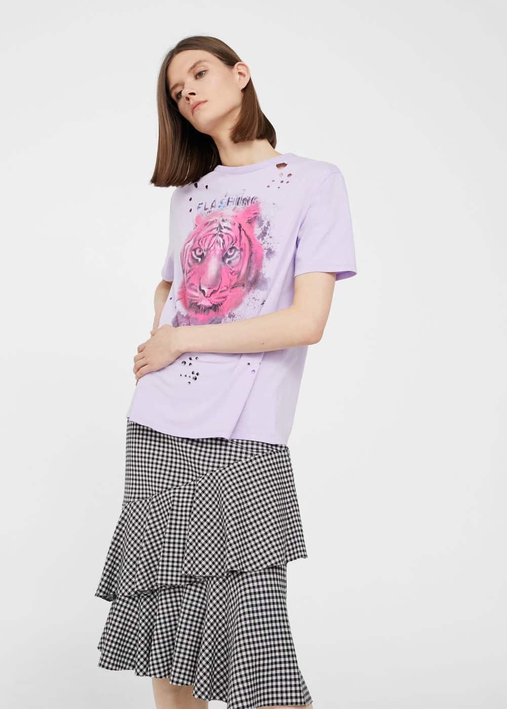 Printed ripped t-shirt | MANGO