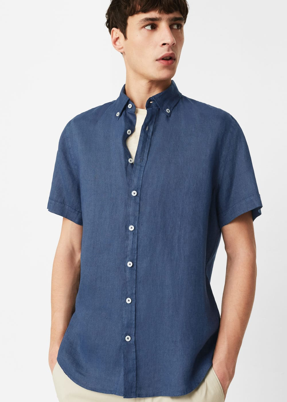 Slim-fit short-sleeve linen shirt | MANGO