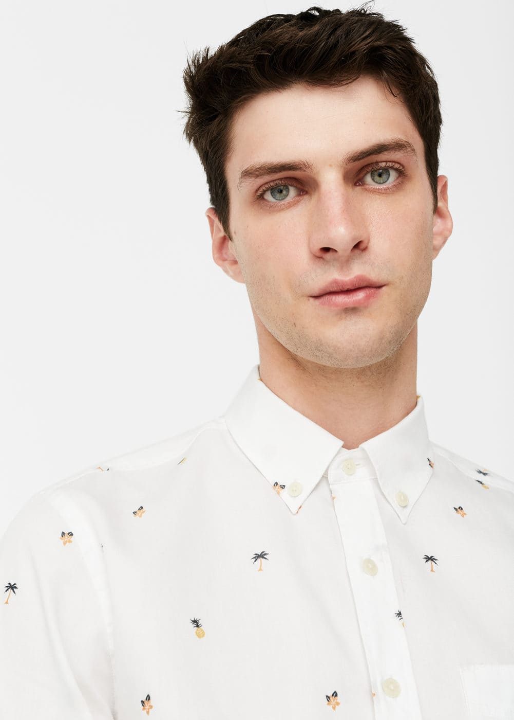 Slim-fit palm-design cotton shirt | MANGO