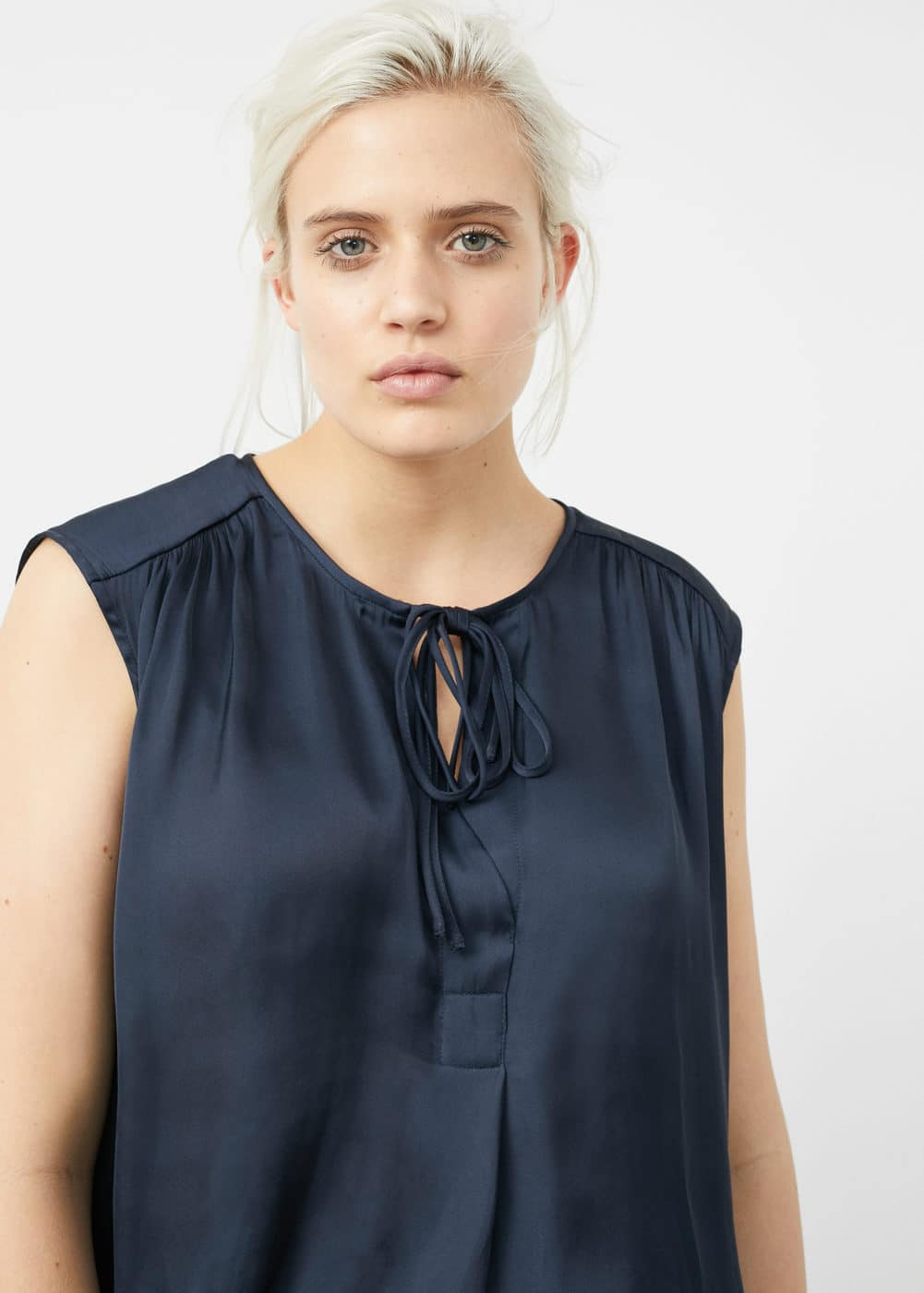 Tie-neck blouse | VIOLETA BY MANGO
