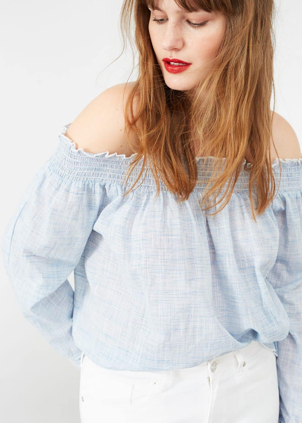 Blusa off-shoulder rayas | VIOLETA BY MANGO
