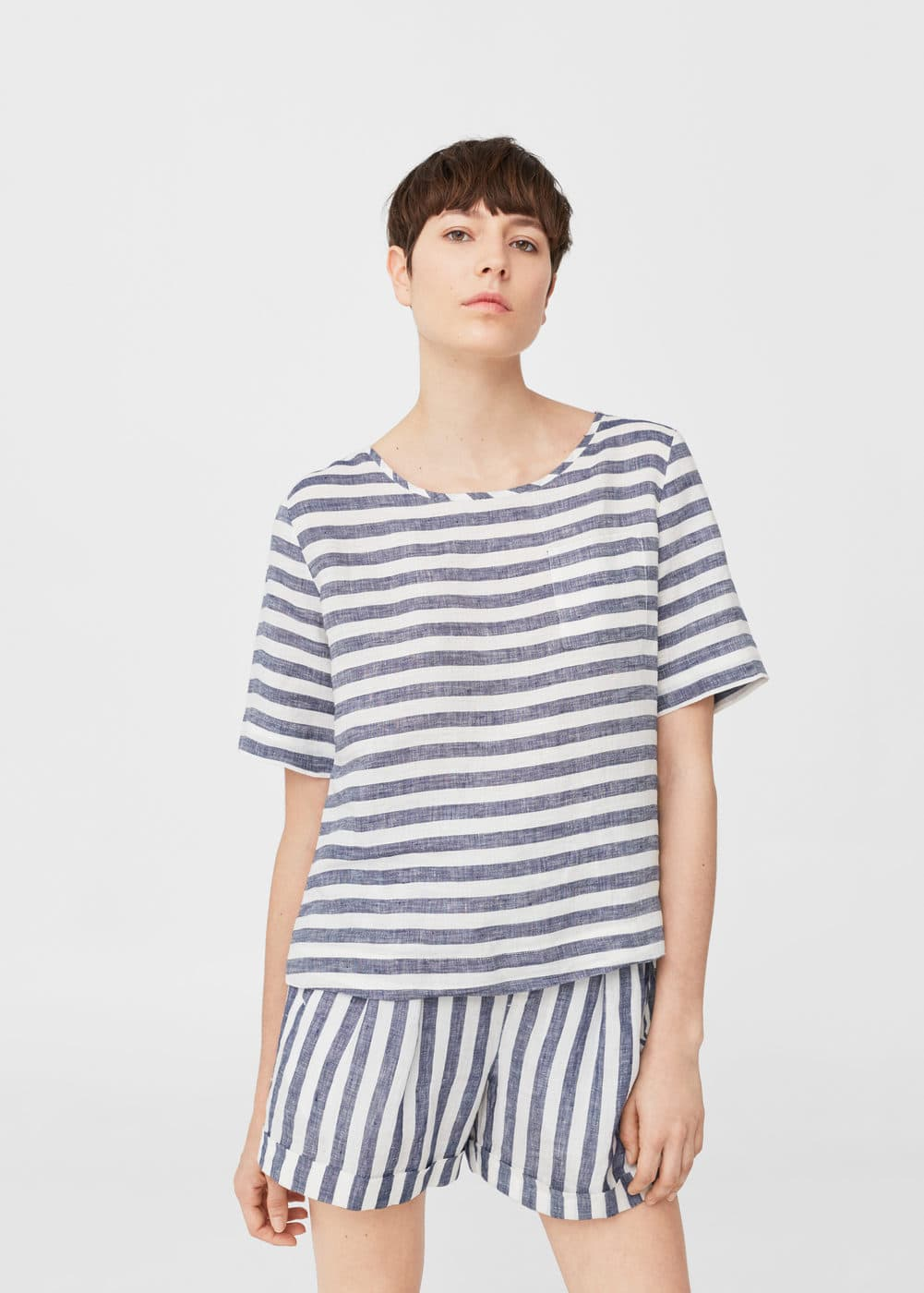 Linen-blend striped blouse | MANGO