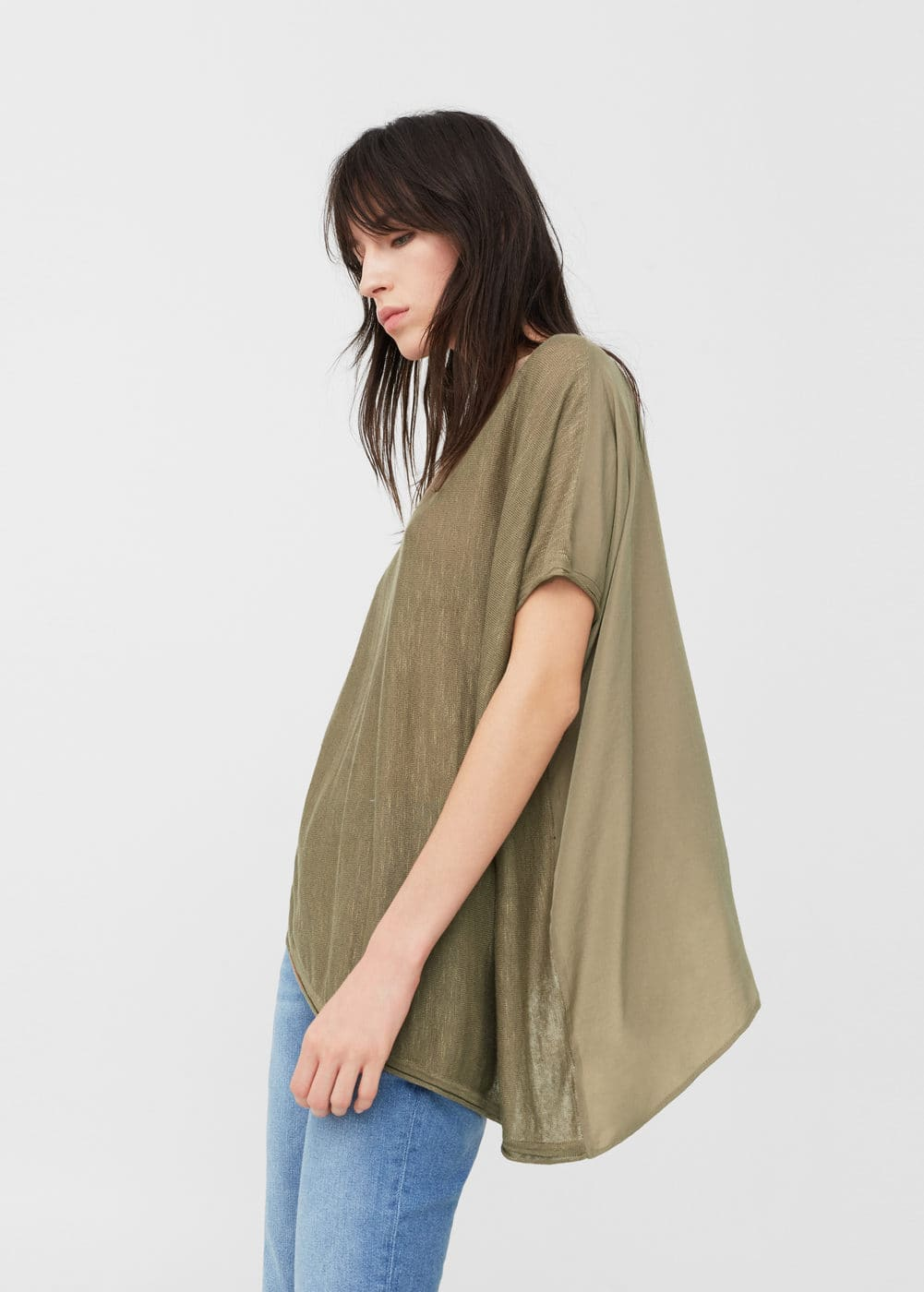 Asymmetric linen sweater | MANGO