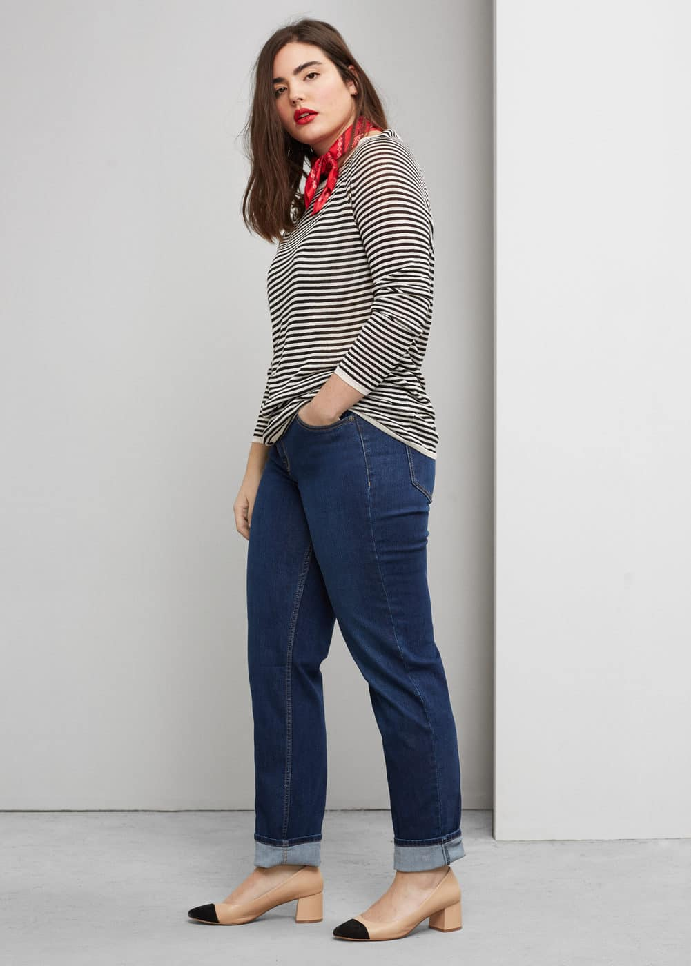 Striped linen sweater | VIOLETA BY MNG