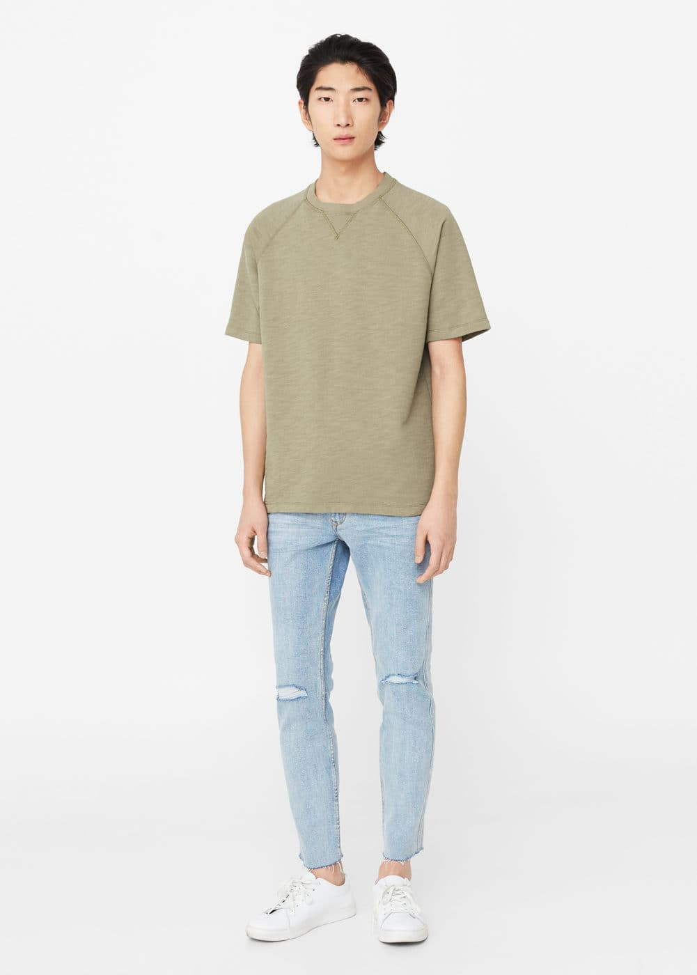 Short sleeve cotton sweatshirt | MANGO MAN