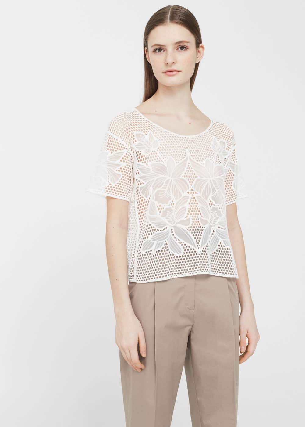 Openwork cotton-blend t-shirt | MANGO