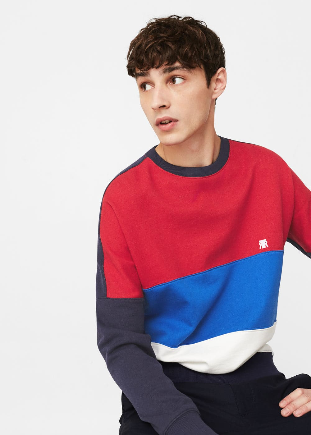 Color block sweatshirt | MANGO MAN
