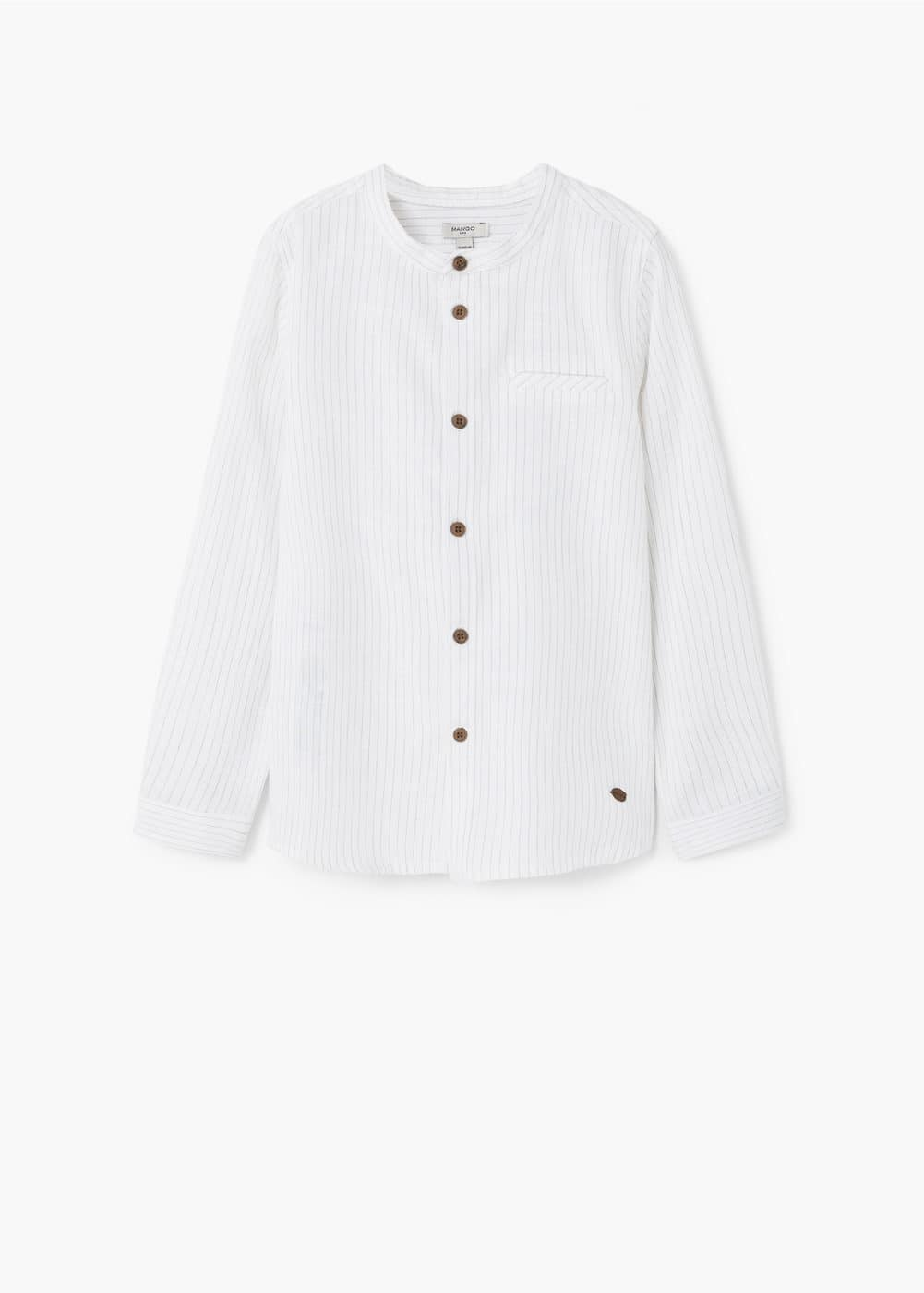 Striped mao collar shirt | MANGO KIDS