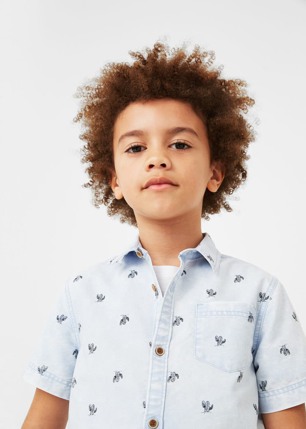 Printed denim shirt | MANGO KIDS