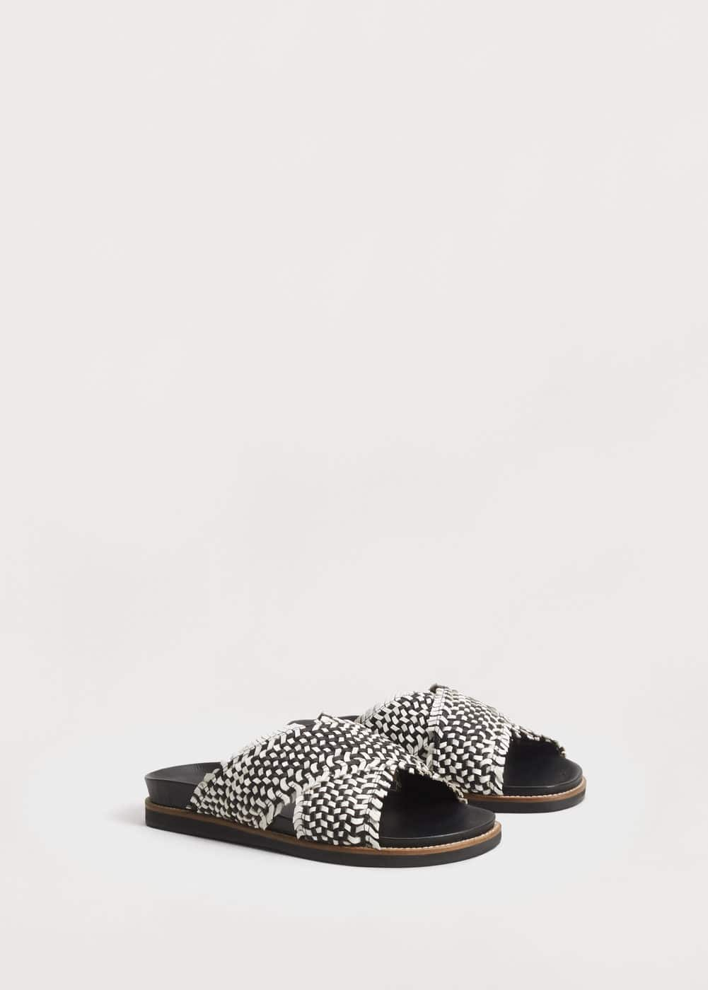 Leather braided sandals | MANGO