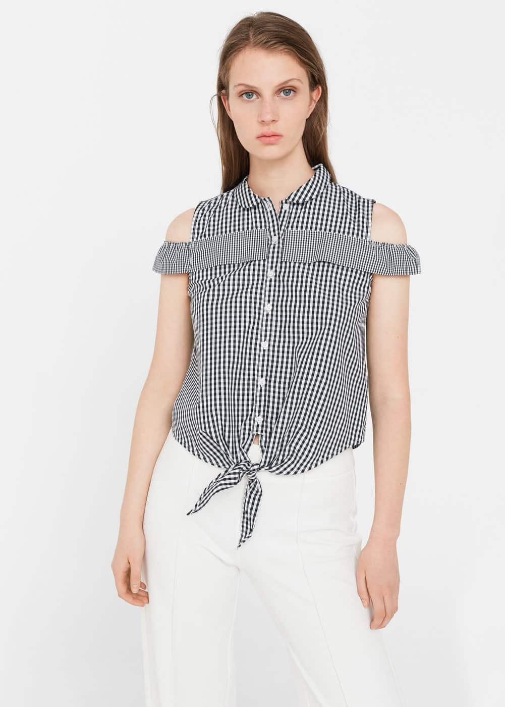 Knotted-hem cotton top | MNG