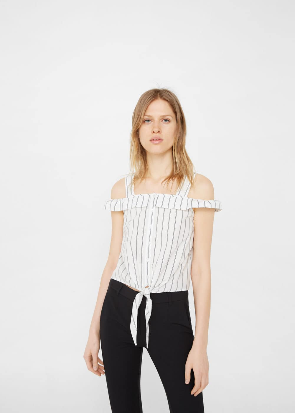 Ruffled cotton top | MANGO