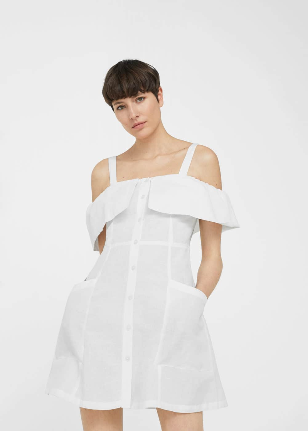Vestido lino off-shoulder | MNG