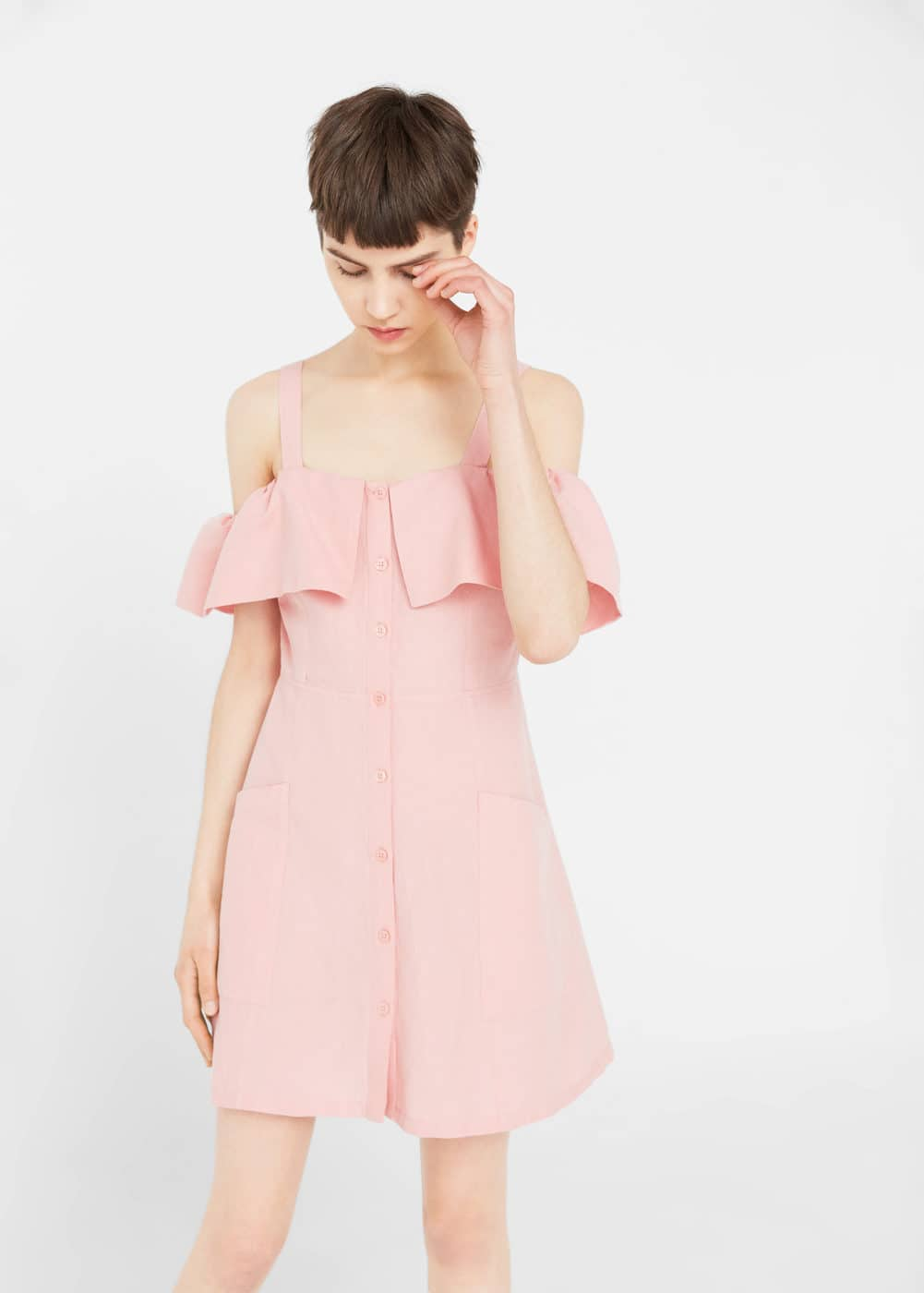 Off-shoulders linen dress | MANGO