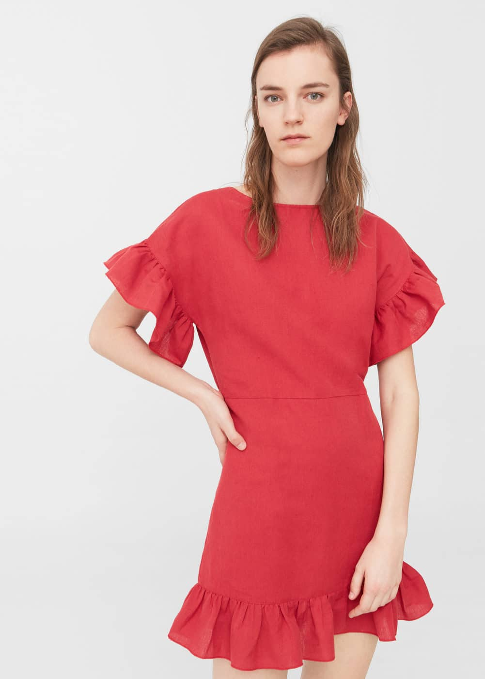 Ruffled linen dress | MANGO
