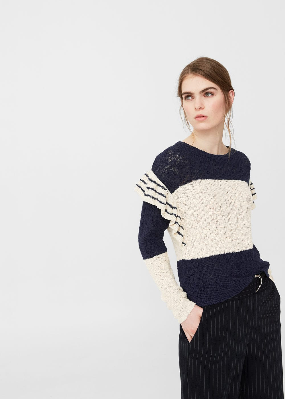 Ruffled cotton sweater | MANGO