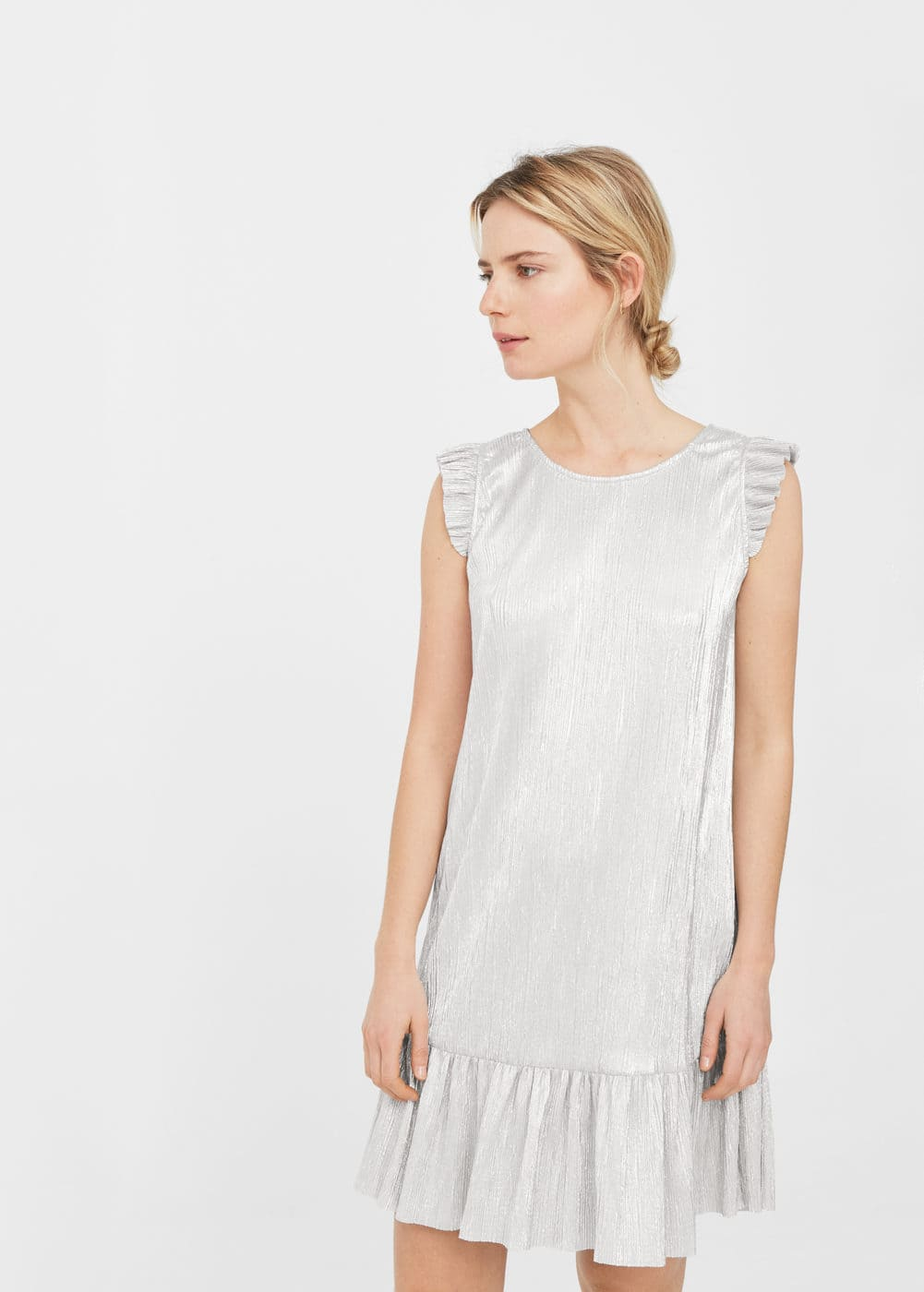 Metallic pleated dress | MANGO