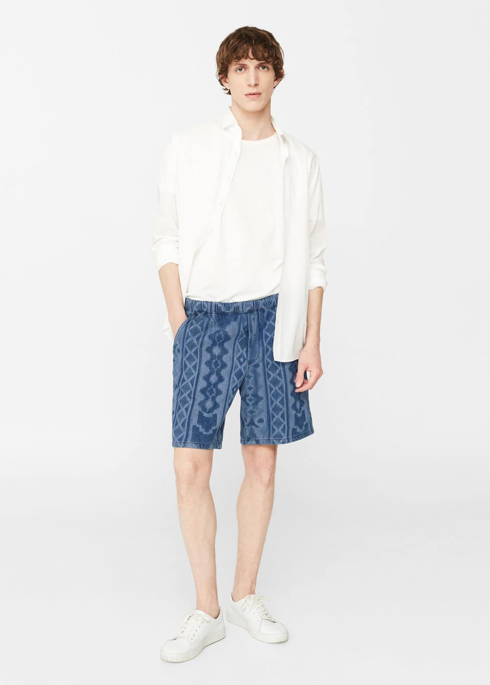 Printed denim bermuda shorts | MANGO