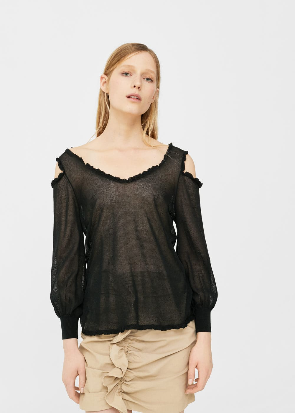 Jersey off-shoulder | MANGO