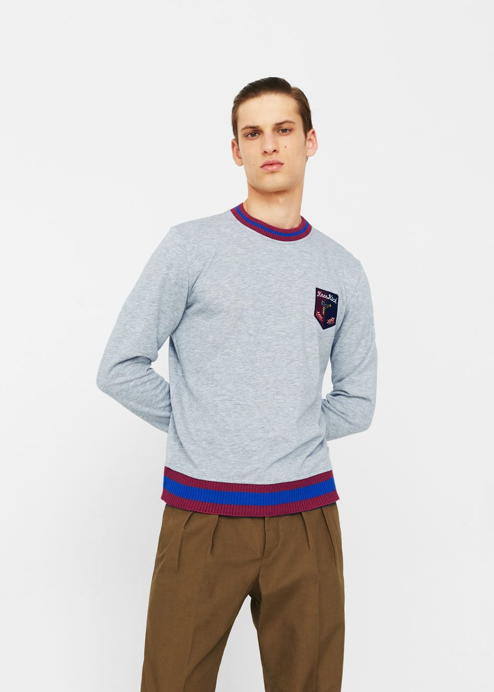Contrasting trims cotton sweatshirt | MANGO