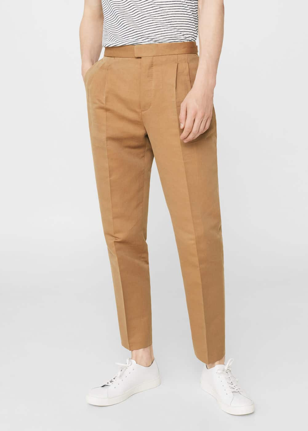 Pantalon regular-fit coton et lin | MANGO