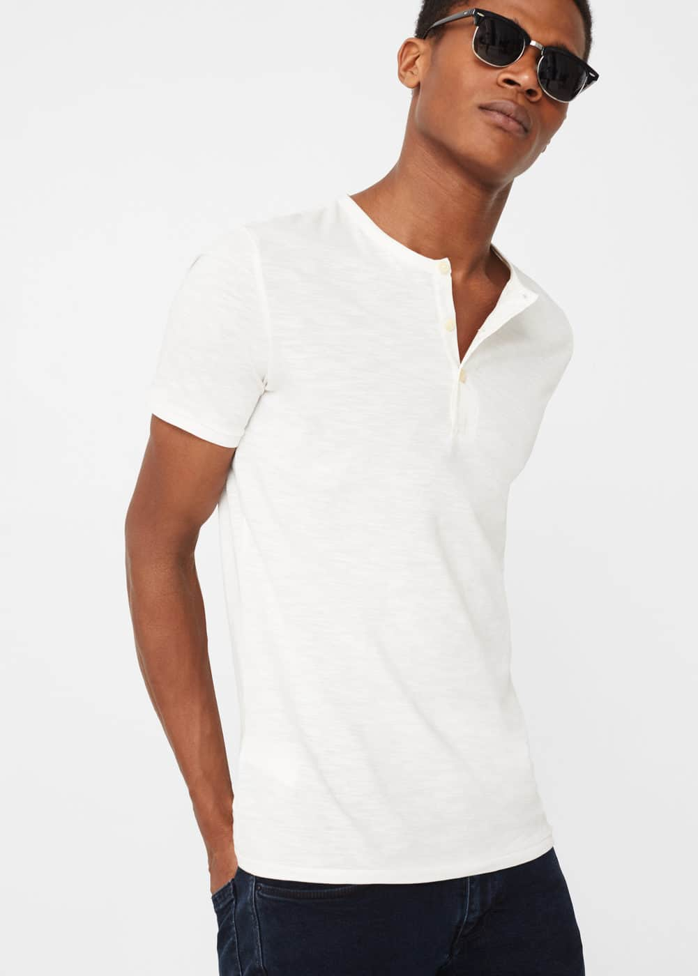 Henley cotton t-shirt | MANGO MAN