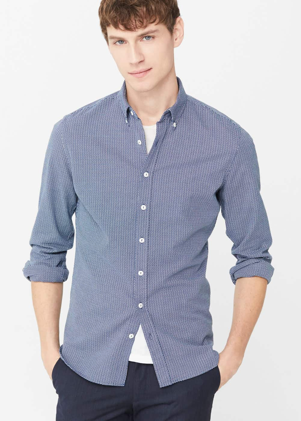 Slim-fit structured cotton shirt | MANGO