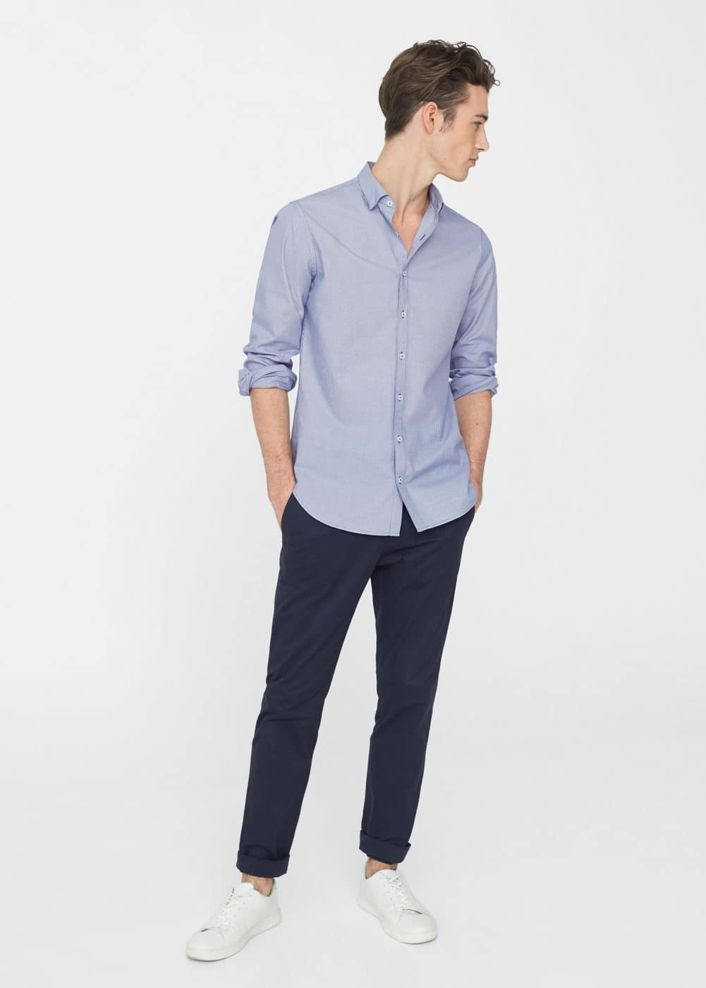Slim-fit micro houndstooth shirt | MANGO MAN