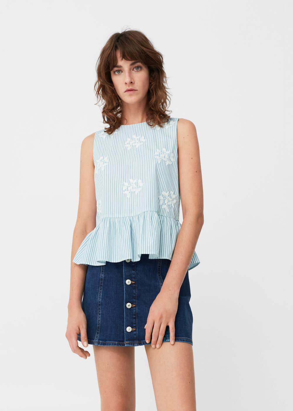 Embroidered cotton top | MANGO