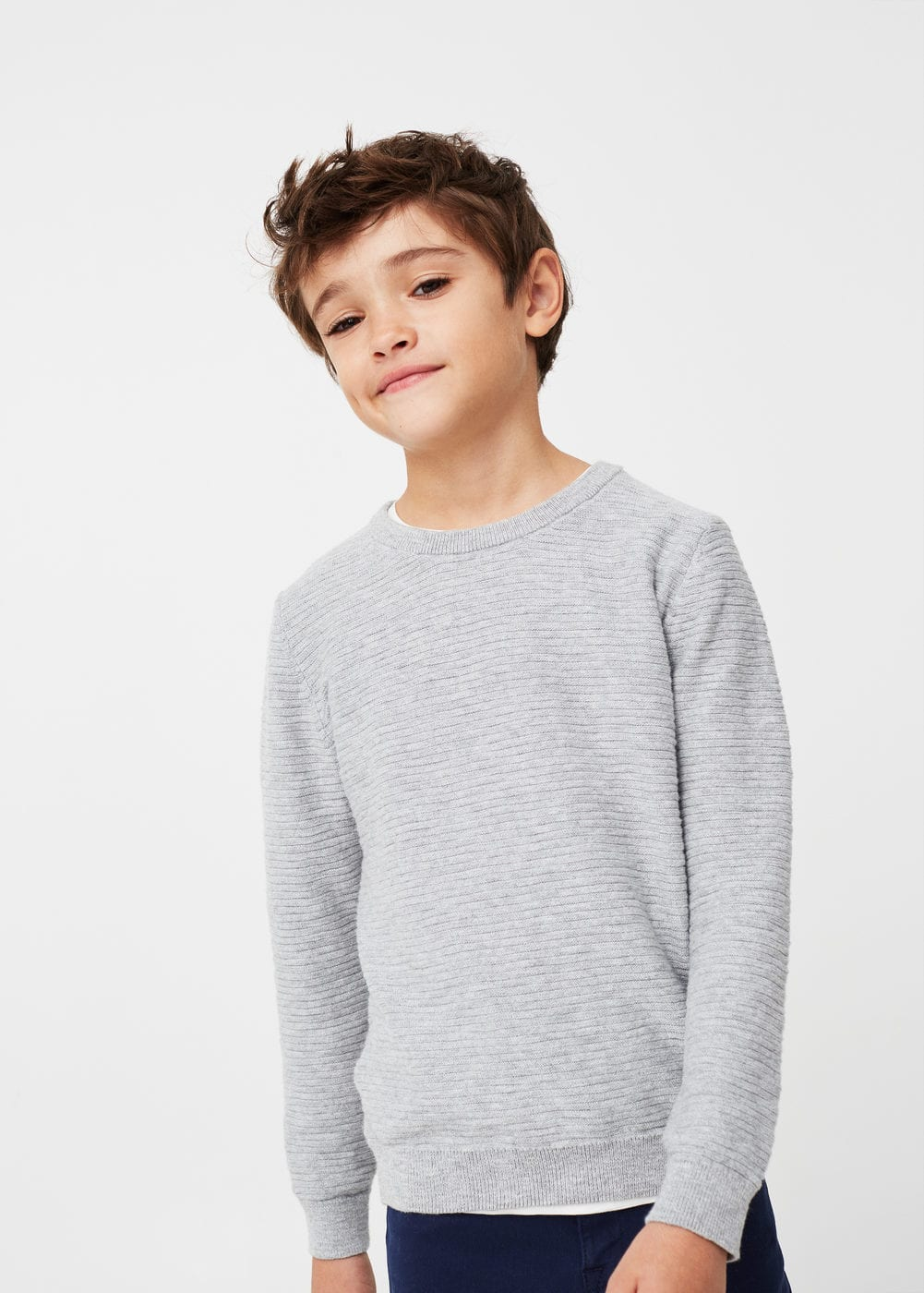 Textured cotton-blend sweater | MANGO KIDS