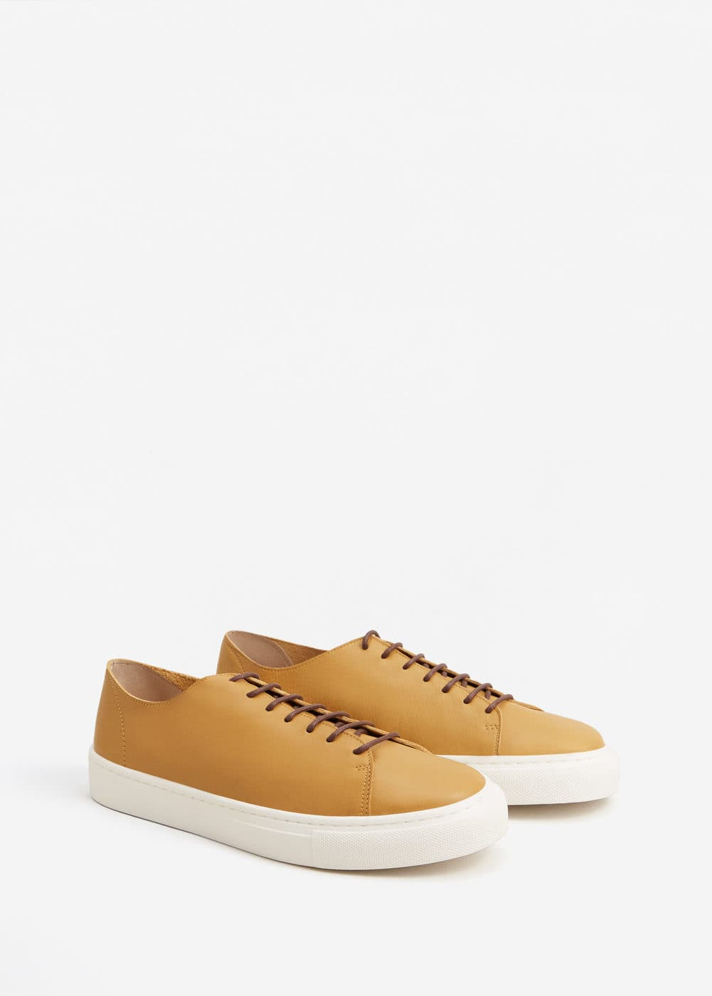 Lace-up leather sneakers | MANGO