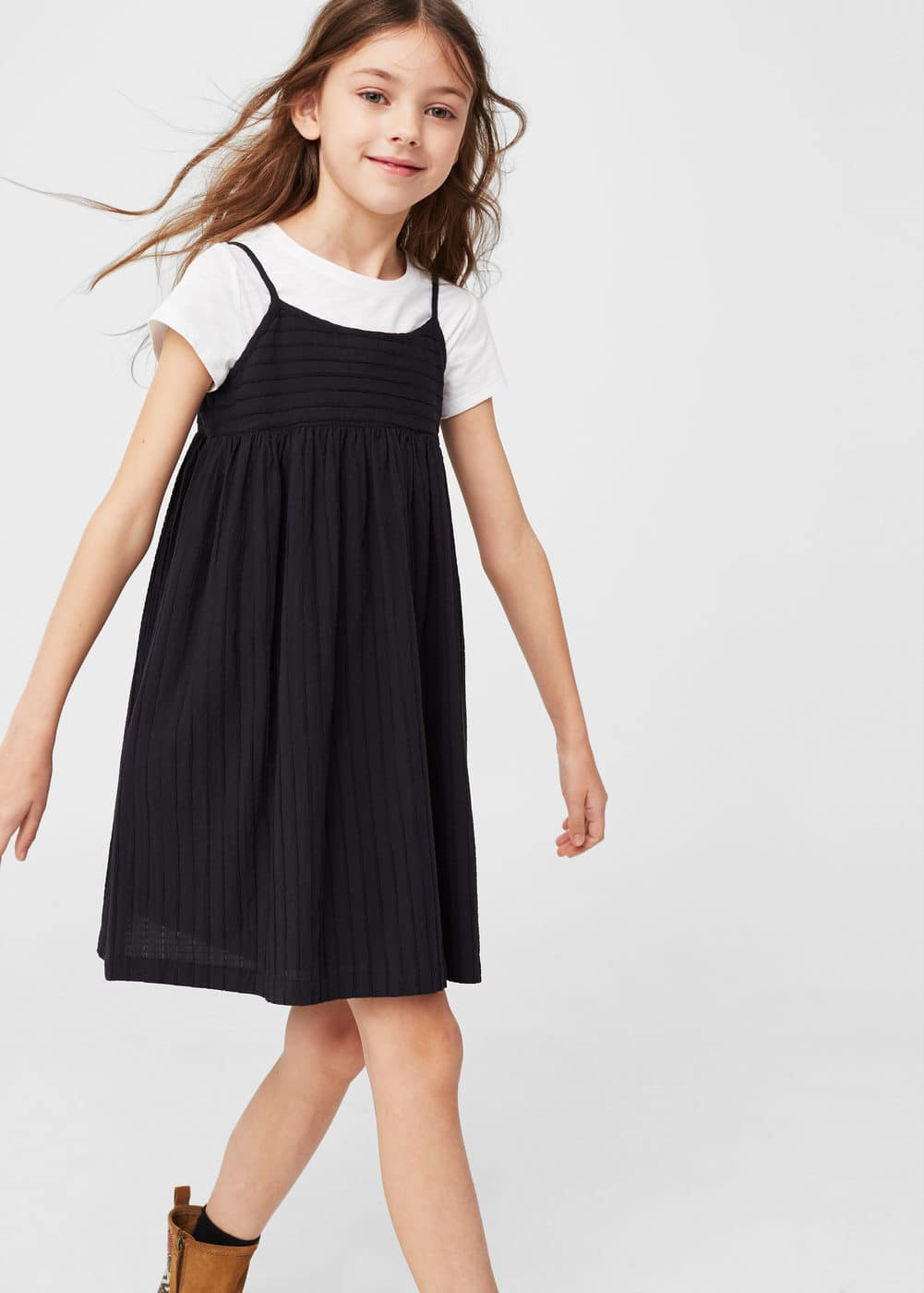 Textured cotton dress | MANGO KIDS