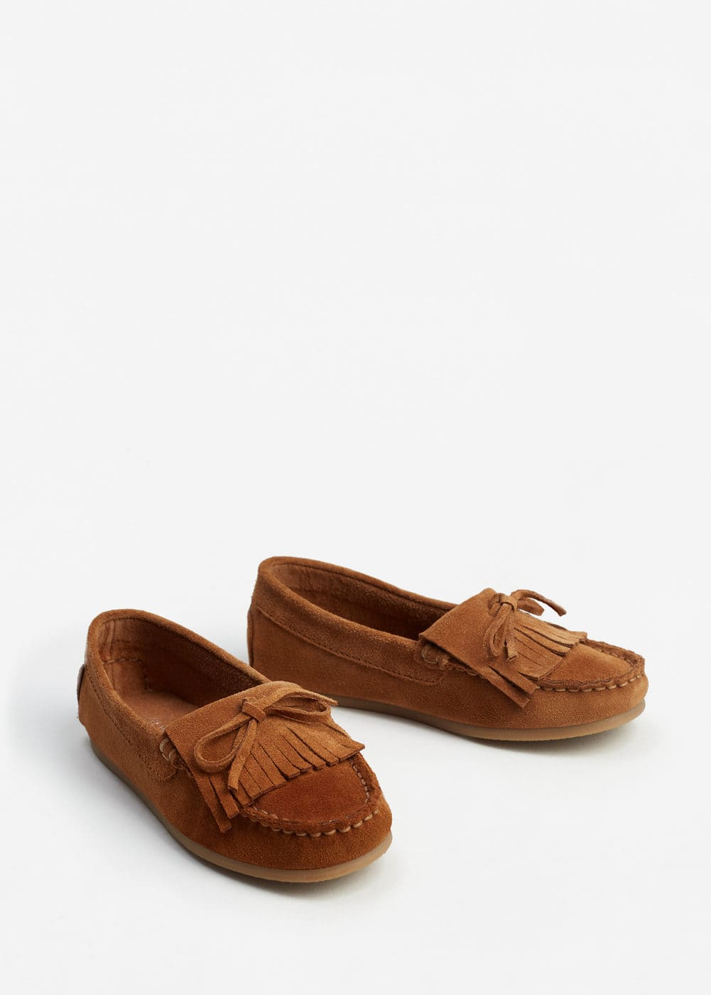 Fringed leather shoes | MANGO
