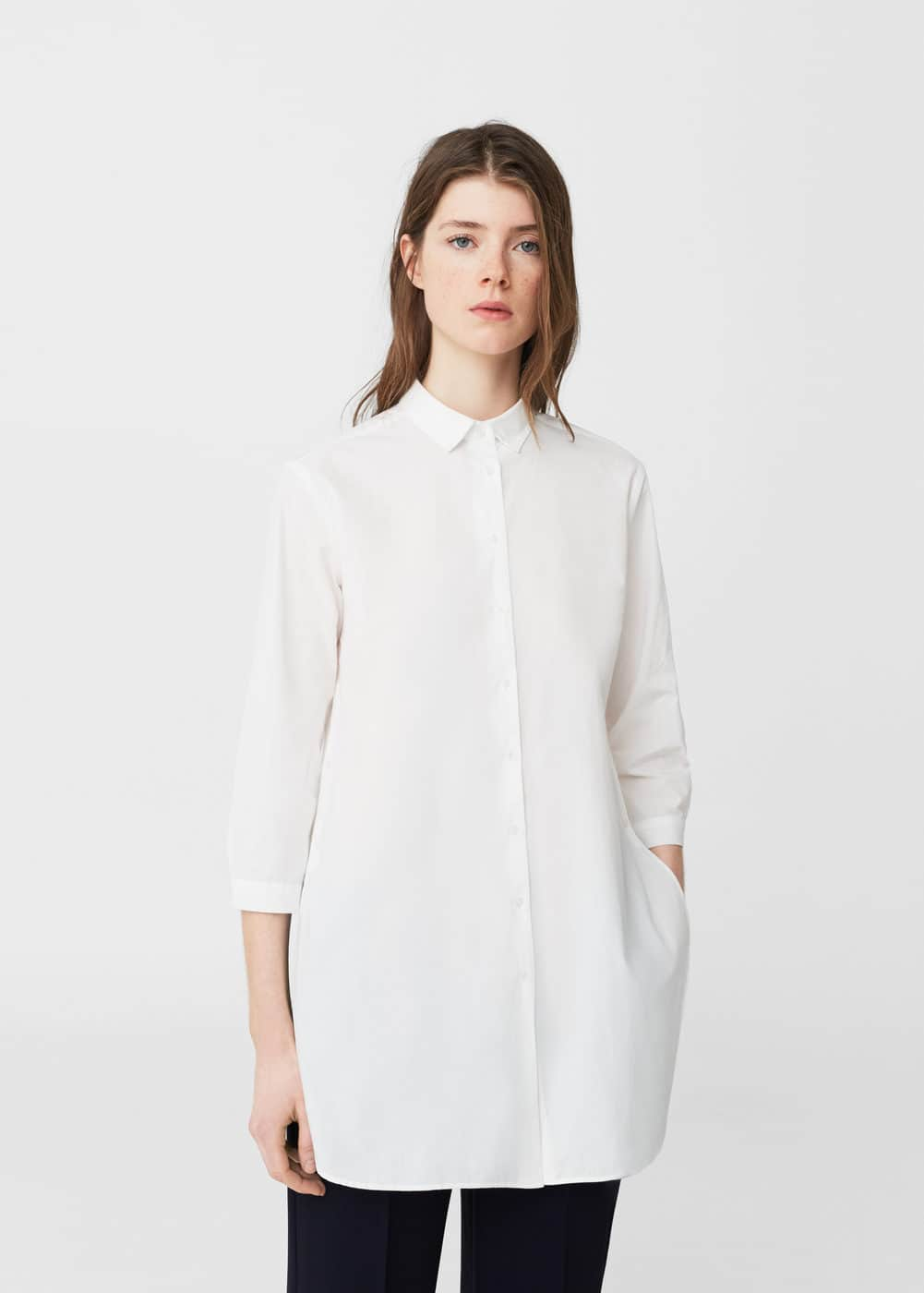 Essential cotton-blend shirt | MANGO