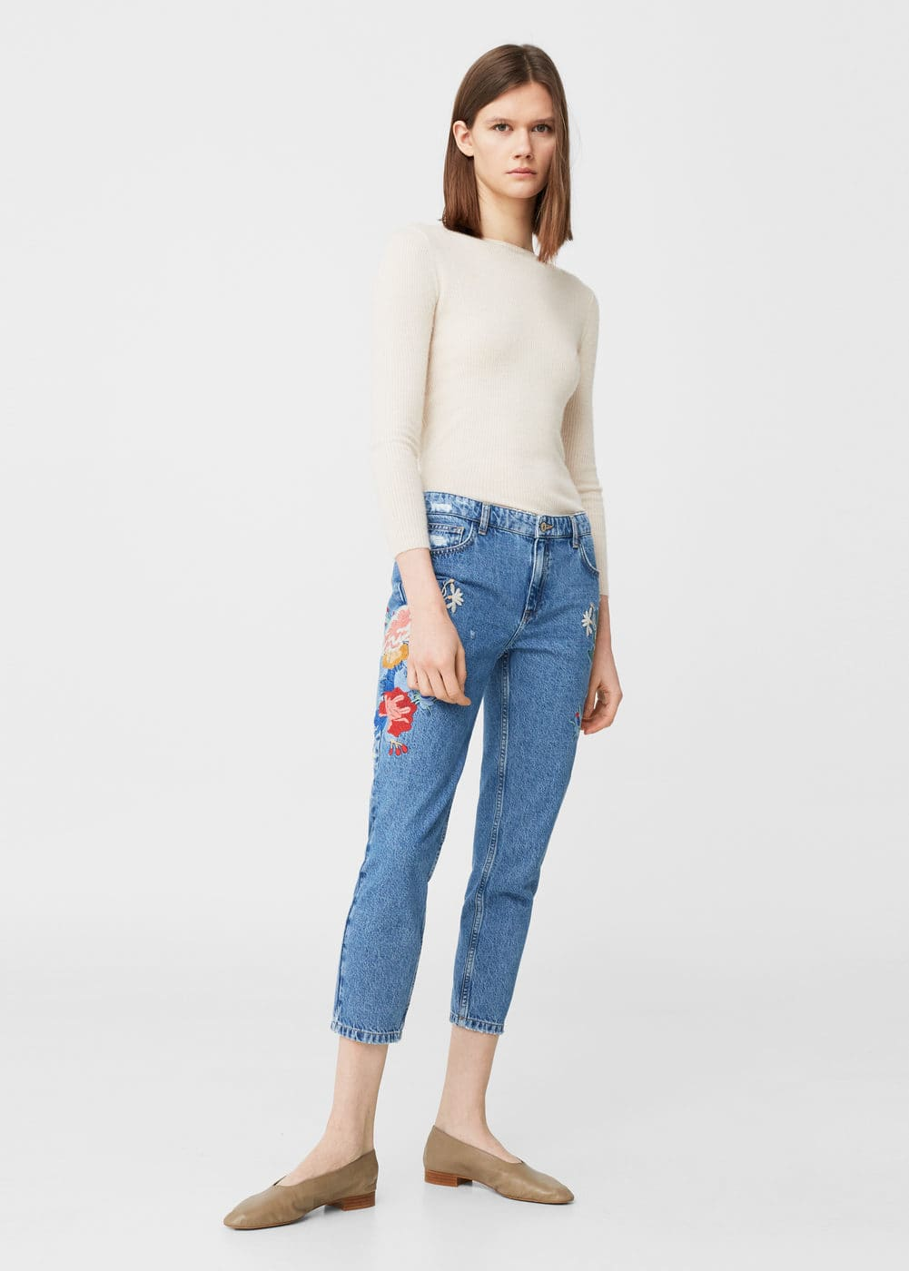 Embroidered straight crop jeans | MANGO