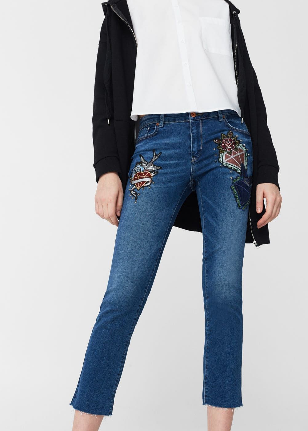 School straight cropped jeans | MANGO