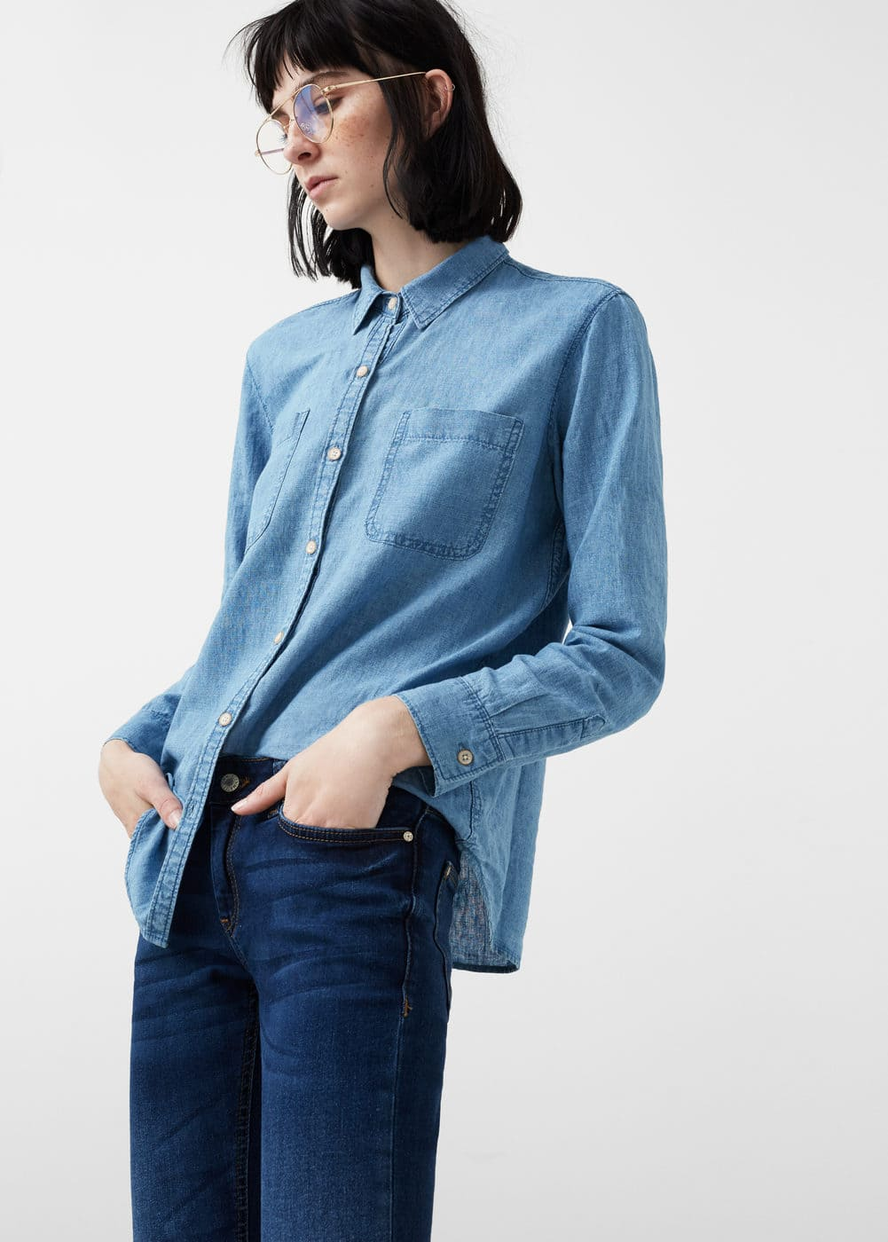 Linen-blend denim shirt | MANGO