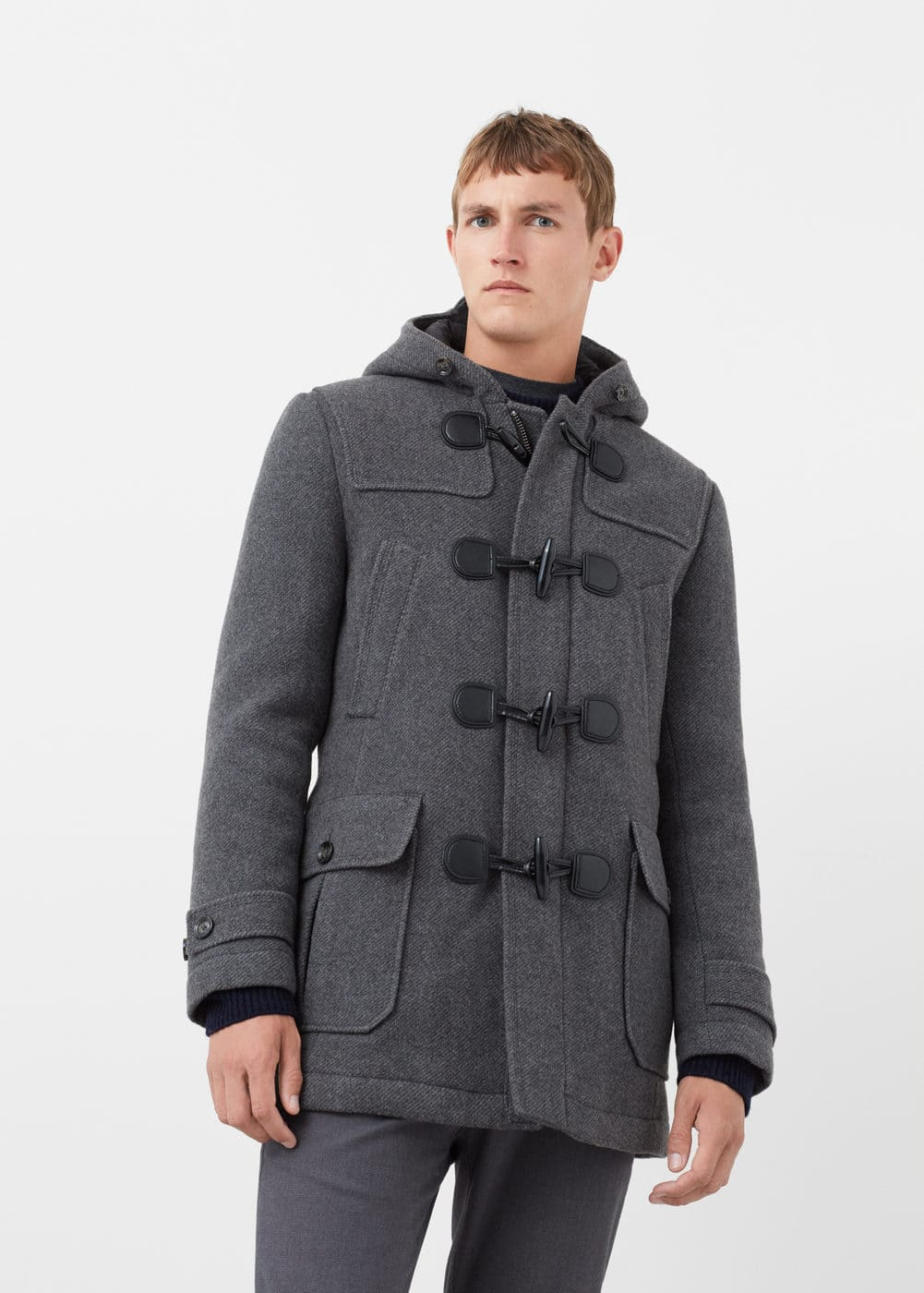 Quilted wool-blend duffle coat | MANGO MAN