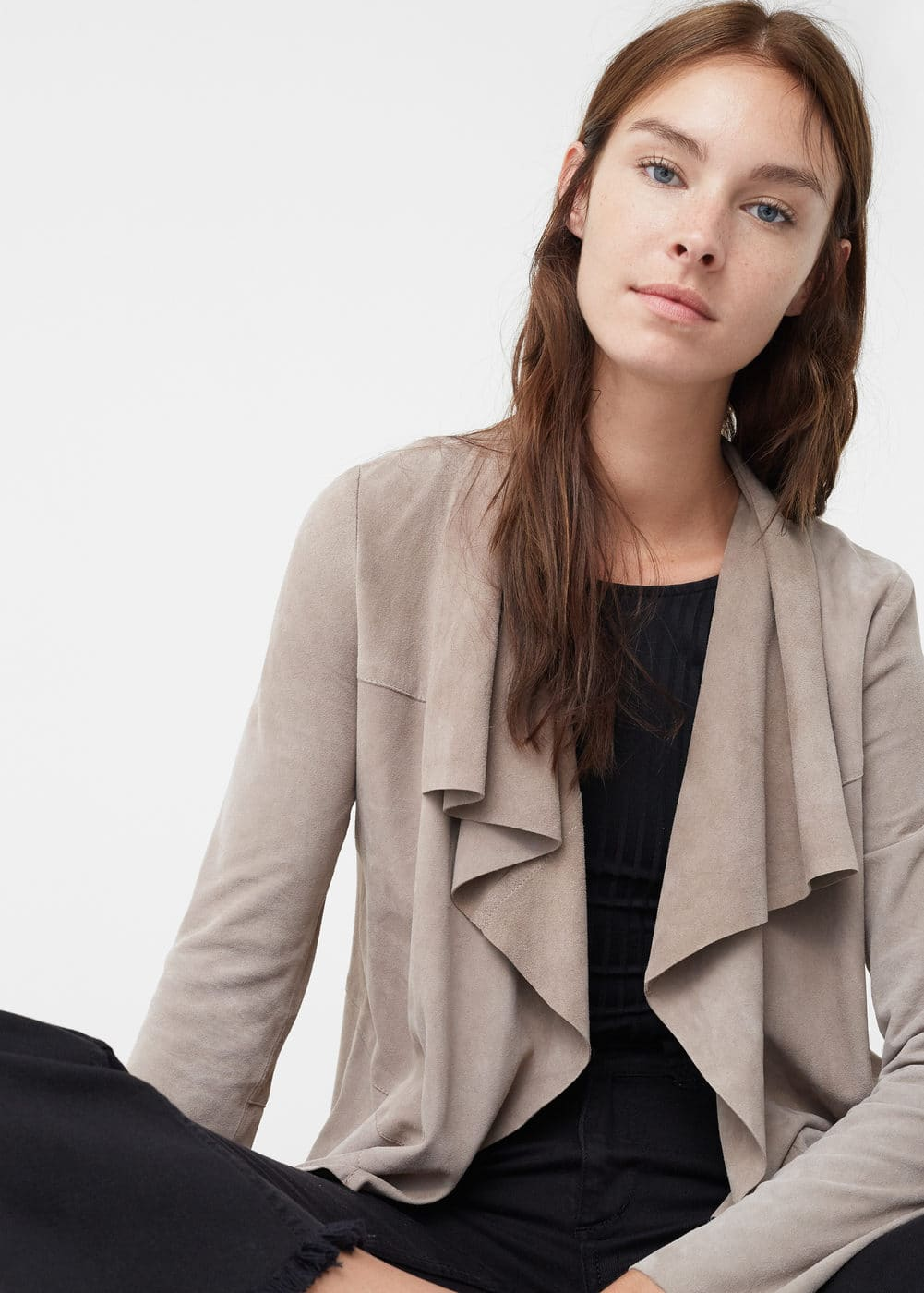 Suede waterfall jacket | MANGO