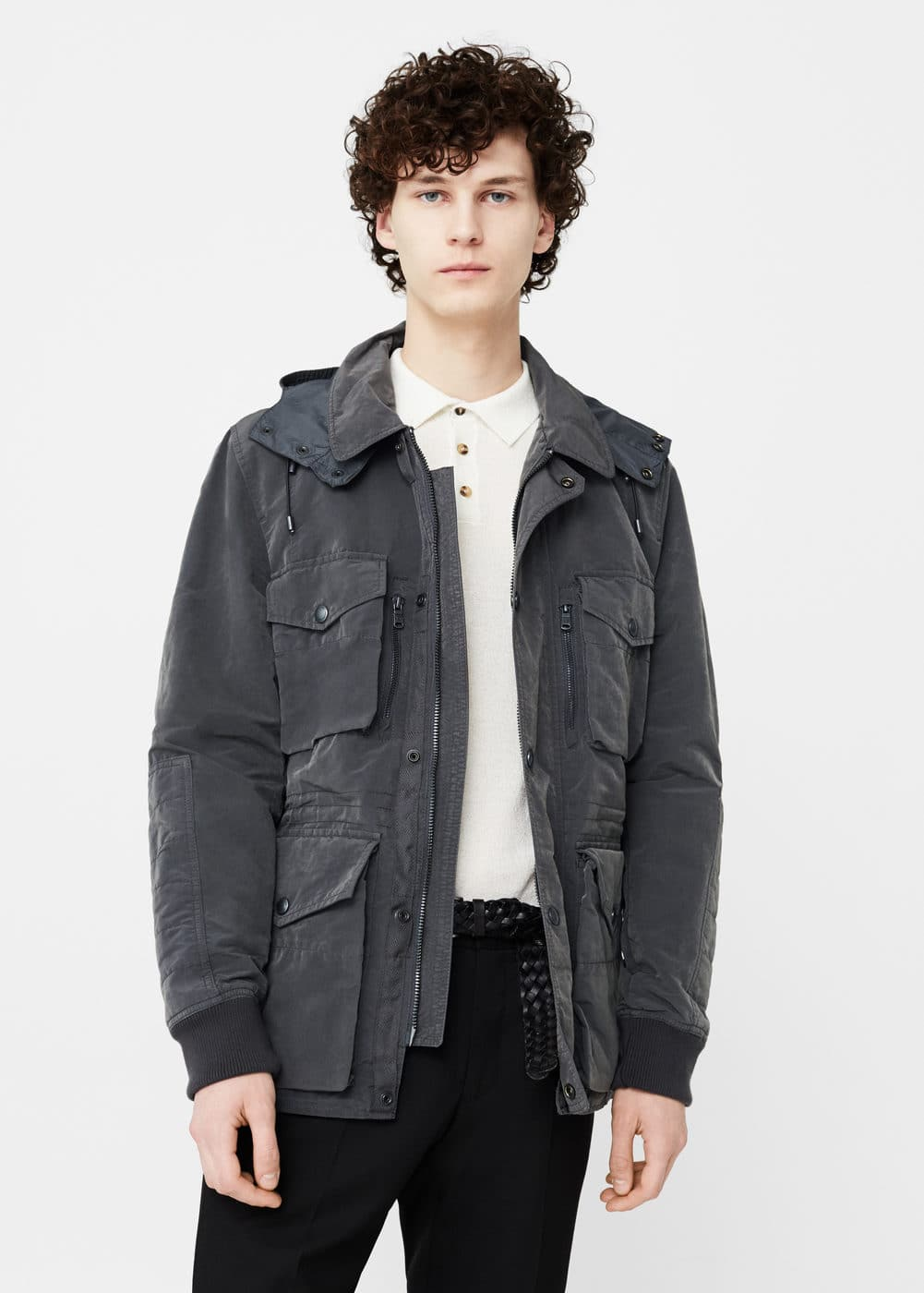 Hooded nylon field jacket | MANGO