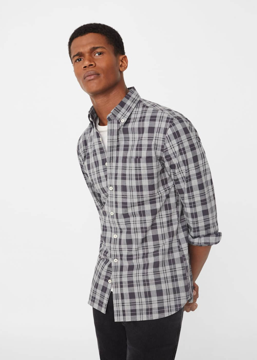 Chemise slim-fit carreaux madras | MANGO