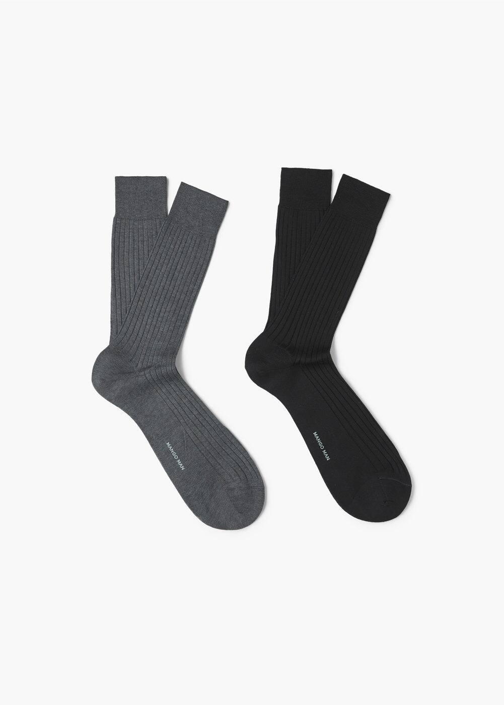 2 pack ribbed socks | MANGO MAN