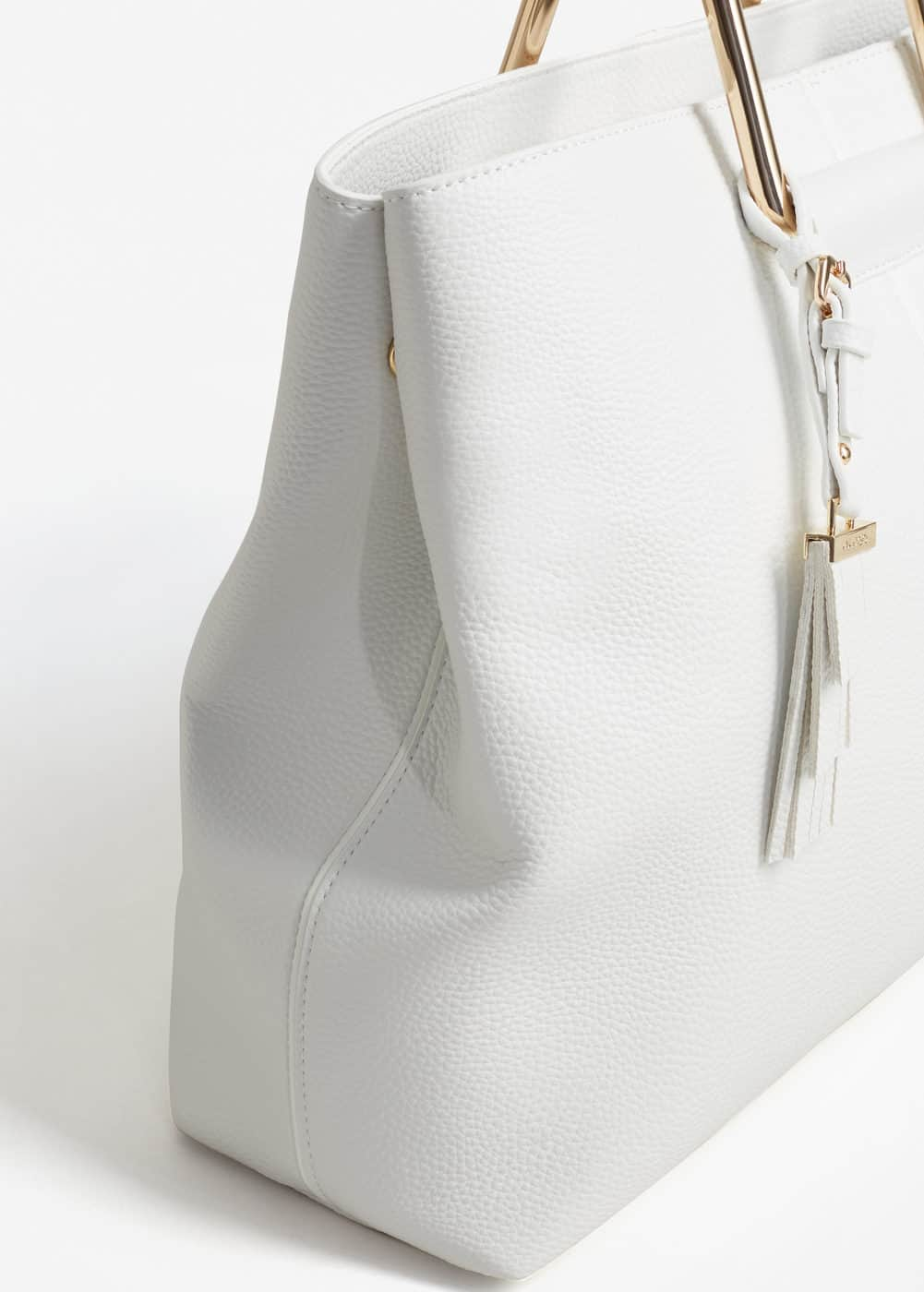 Metallic handle tote bag | MANGO