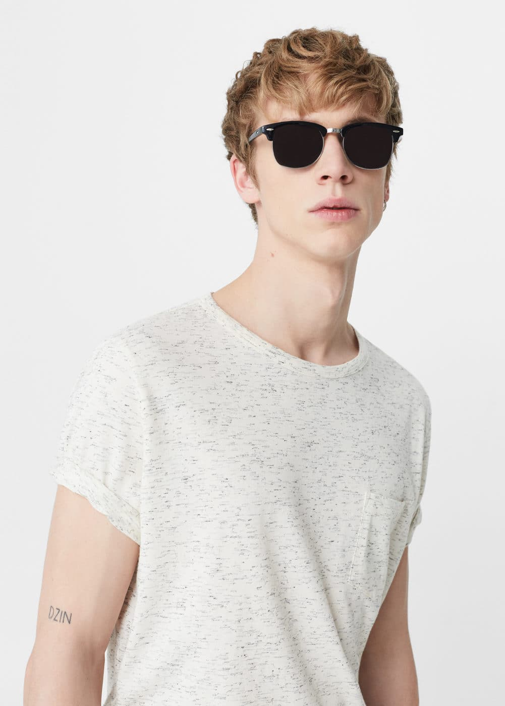 Flecked cotton-blend t-shirt | MANGO