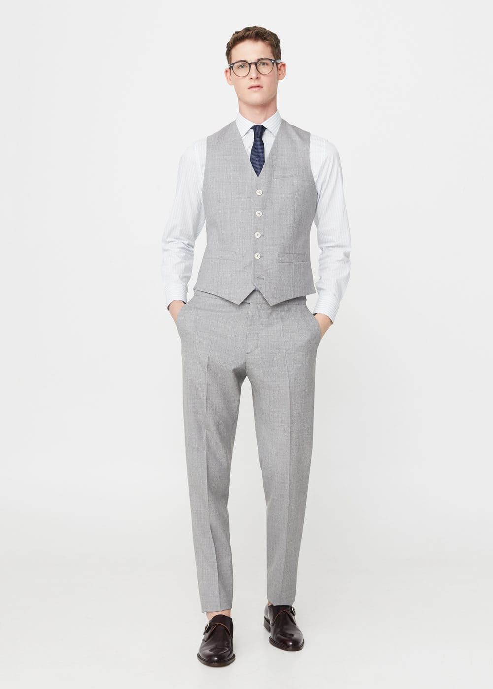 Slim-fit cold wool suit gilet | MANGO MAN